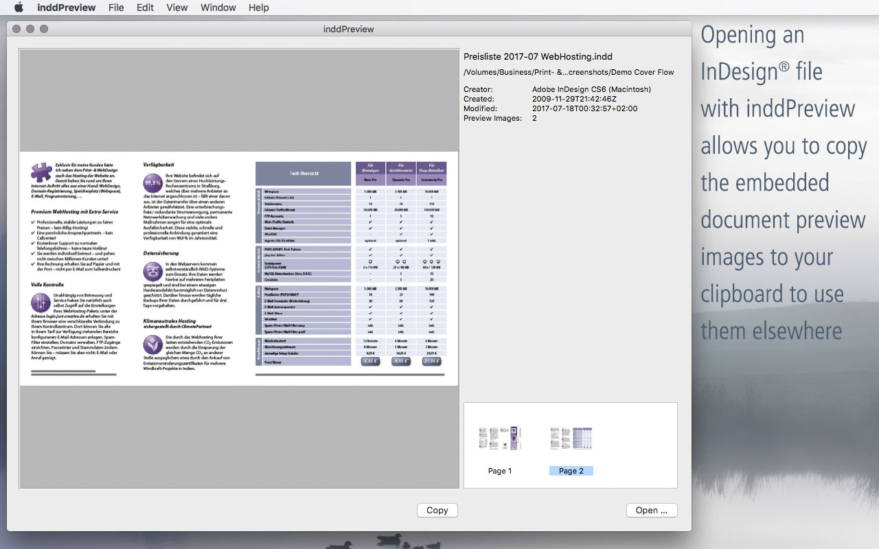 inddPreview – Quick Look for InDesign® documents · Software